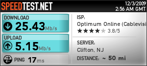 Optimum Boost speed test, 2009-12-02 from Long Island