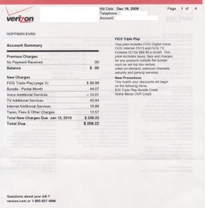FiOS bill page 1
